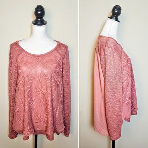 MAURICES Sweater Top, Pink Lace Boho Floral, 1XL
